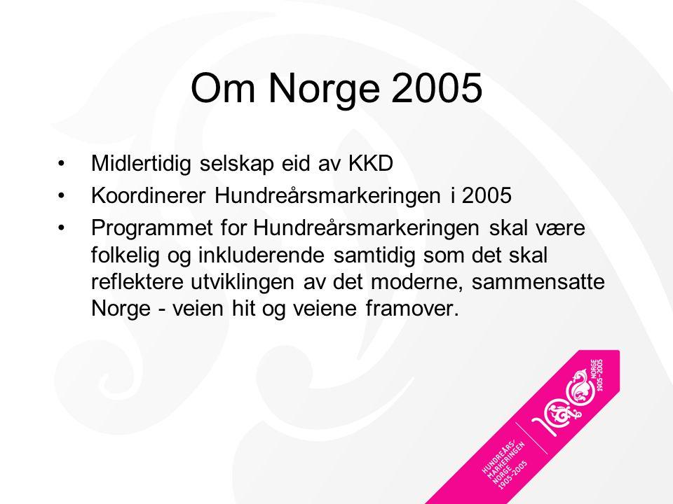 Om Norge 2005 Midlertidig selskap eid av KKD