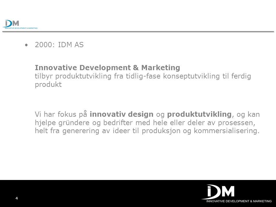 2000: IDM AS Innovative Development & Marketing tilbyr produktutvikling fra tidlig-fase konseptutvikling til ferdig produkt.
