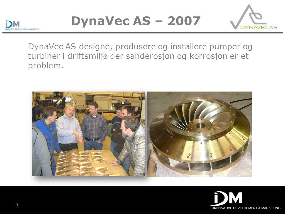 DynaVec AS – 2007 DynaVec AS designe, produsere og installere pumper og turbiner i driftsmiljø der sanderosjon og korrosjon er et problem.