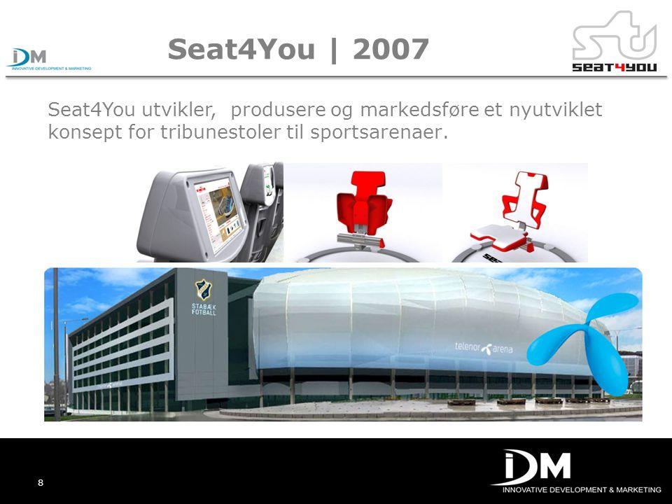 Seat4You | 2007 Seat4You utvikler, produsere og markedsføre et nyutviklet konsept for tribunestoler til sportsarenaer.