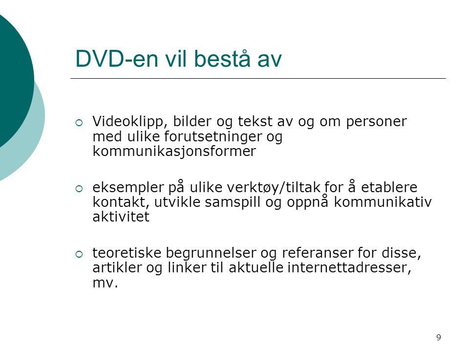 DVD-en vil bestå av Videoklipp, bilder og tekst av og om personer med ulike forutsetninger og kommunikasjonsformer.