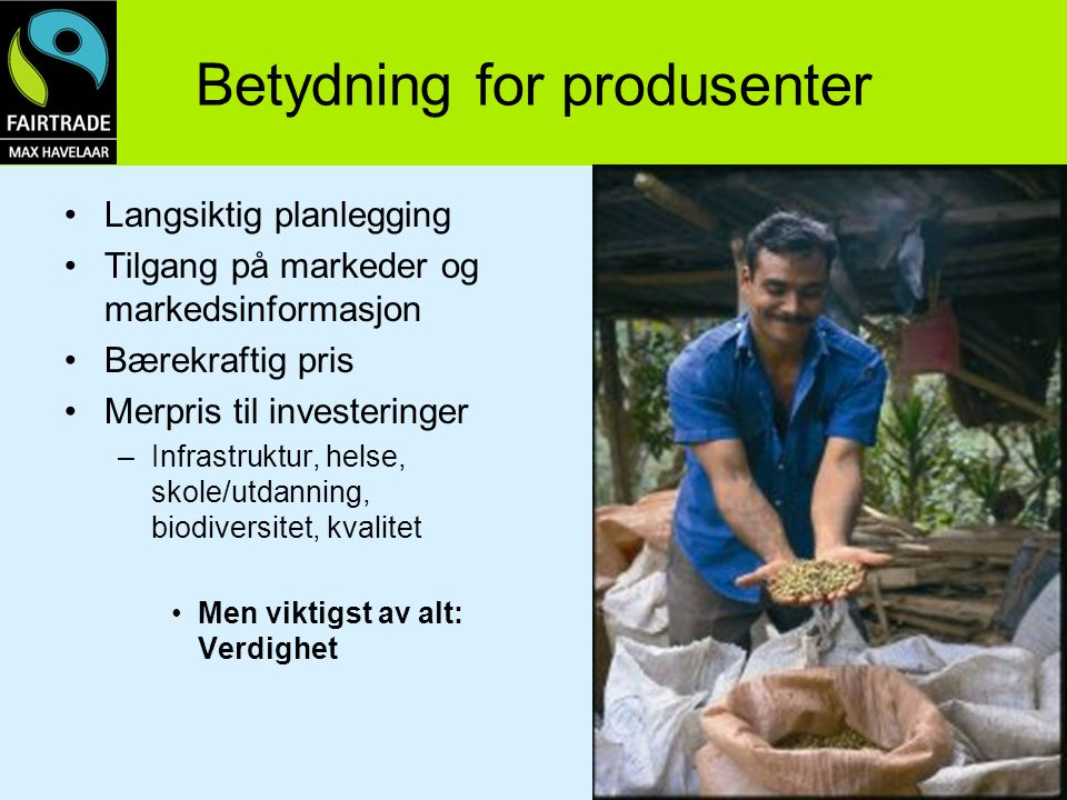 Betydning for produsenter