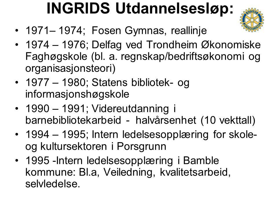 INGRIDS Utdannelsesløp: