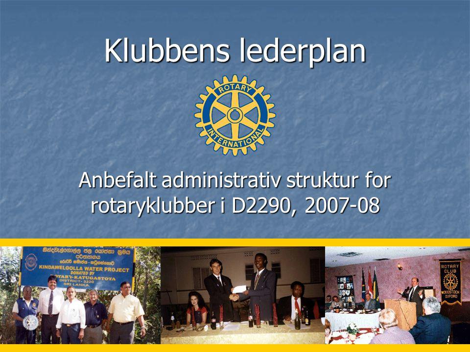 Anbefalt administrativ struktur for rotaryklubber i D2290, 2007-08