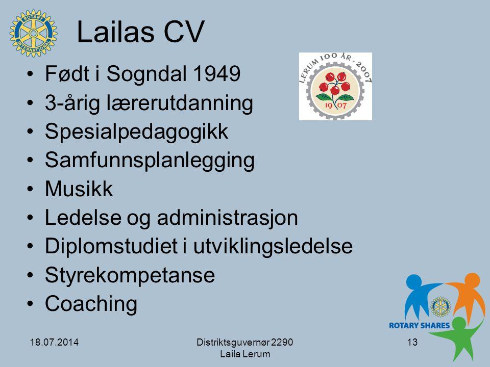 Lailas CV Født i Sogndal 1949 3-årig lærerutdanning Spesialpedagogikk