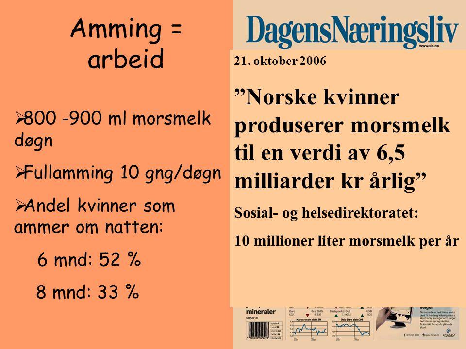 Amming = arbeid 21. oktober 2006. Norske kvinner produserer morsmelk til en verdi av 6,5 milliarder kr årlig