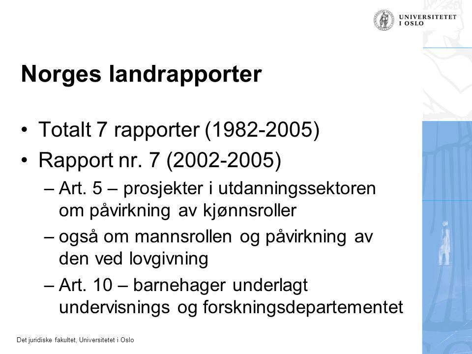 Norges landrapporter Totalt 7 rapporter (1982-2005)