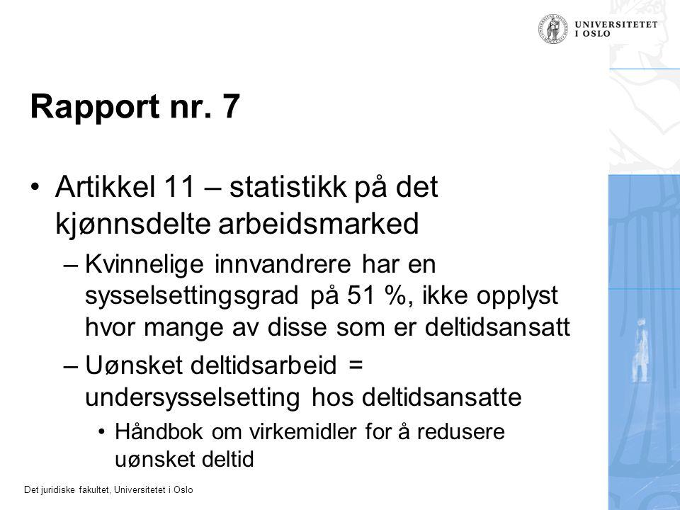 Rapport nr. 7 Artikkel 11 – statistikk på det kjønnsdelte arbeidsmarked.