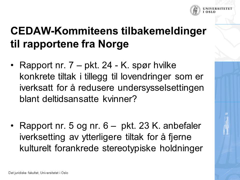 CEDAW-Kommiteens tilbakemeldinger til rapportene fra Norge