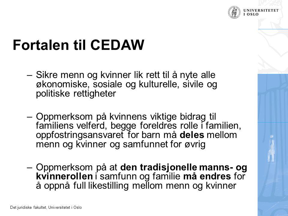 Fortalen til CEDAW Sikre menn og kvinner lik rett til å nyte alle økonomiske, sosiale og kulturelle, sivile og politiske rettigheter.