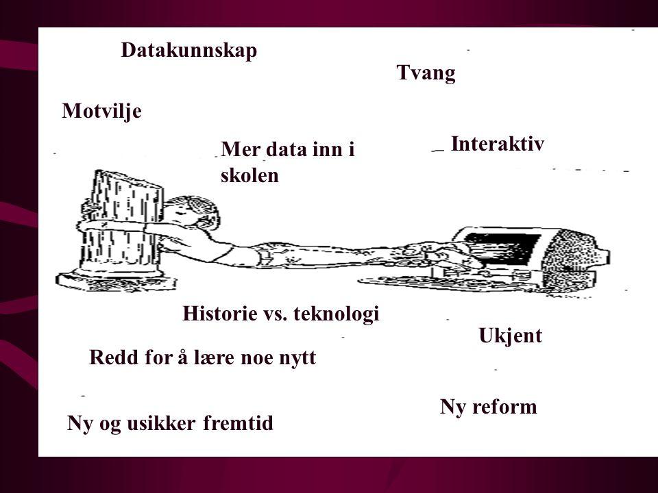 Datakunnskap Tvang. Motvilje. Interaktiv. Mer data inn i skolen. Historie vs. teknologi. Ukjent.