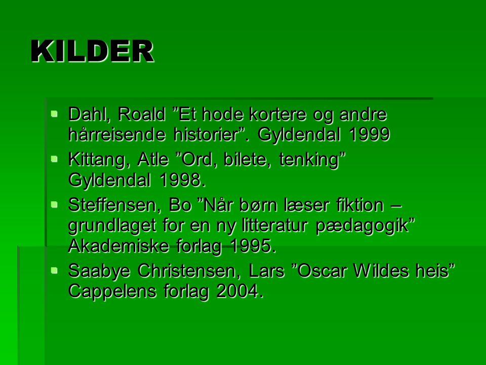 KILDER Dahl, Roald Et hode kortere og andre hårreisende historier . Gyldendal 1999. Kittang, Atle Ord, bilete, tenking Gyldendal 1998.