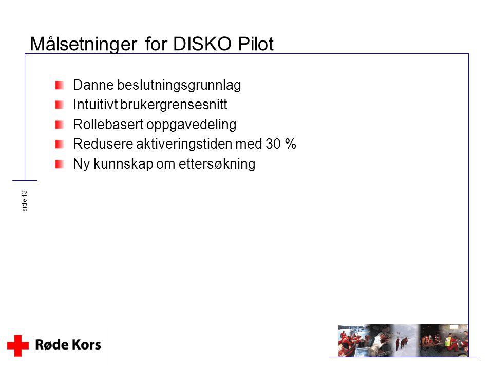 Målsetninger for DISKO Pilot