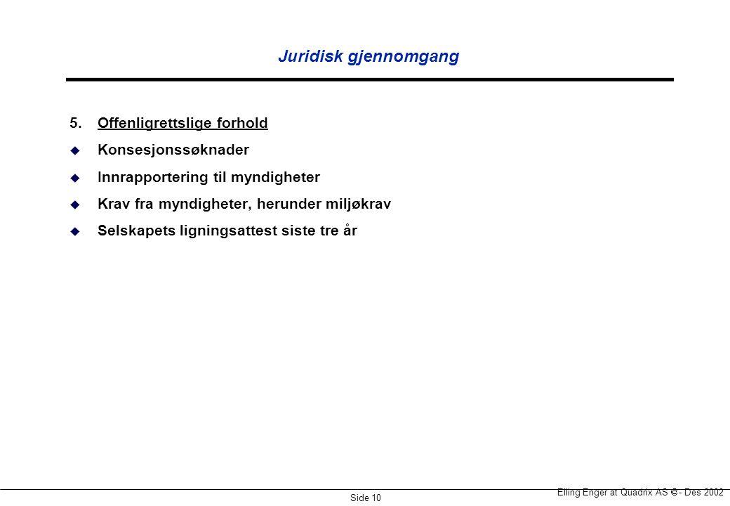 Juridisk gjennomgang 5. Offenligrettslige forhold Konsesjonssøknader