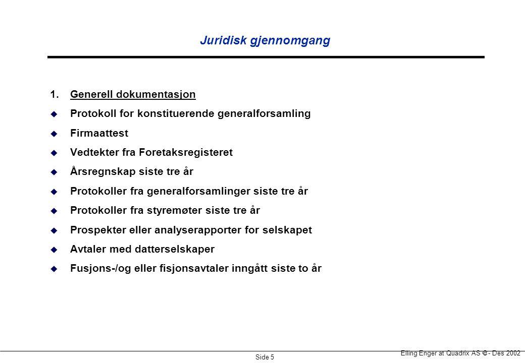 Juridisk gjennomgang 1. Generell dokumentasjon
