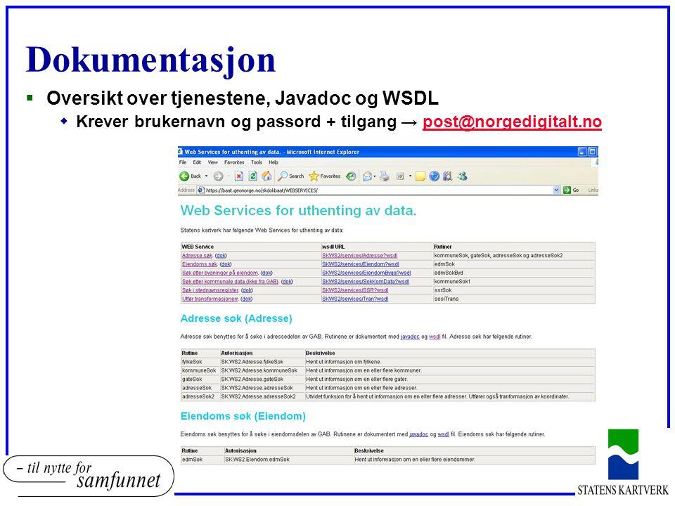 Dokumentasjon Oversikt over tjenestene, Javadoc og WSDL