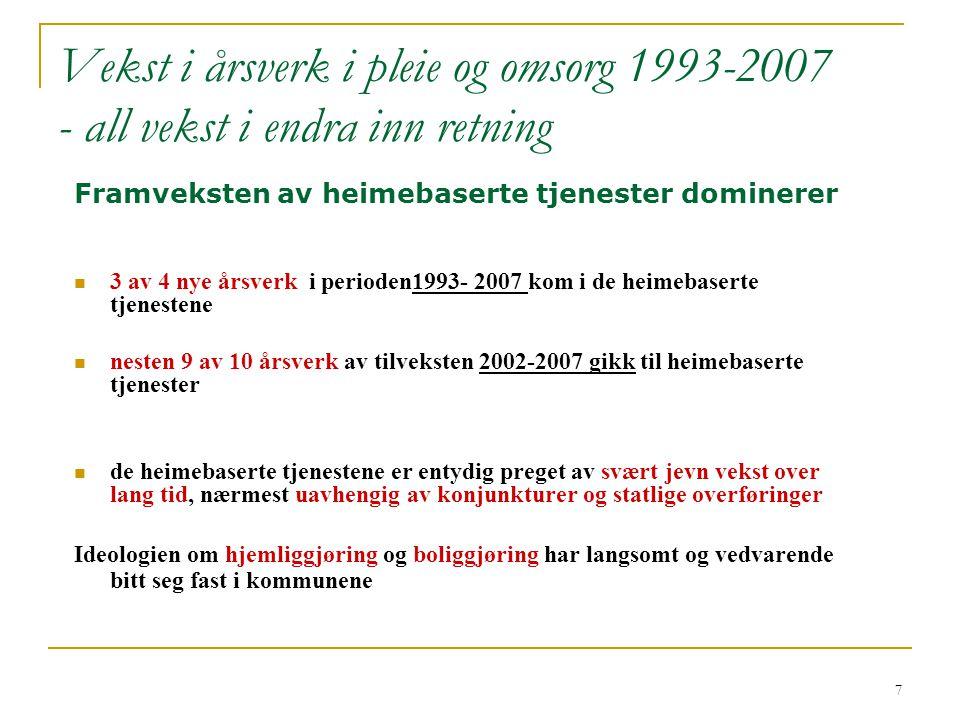 Vekst i årsverk i pleie og omsorg 1993-2007 - all vekst i endra inn retning