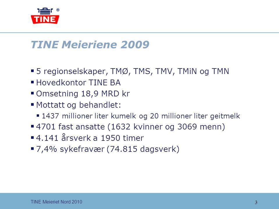 TINE Meieriene 2009 5 regionselskaper, TMØ, TMS, TMV, TMiN og TMN