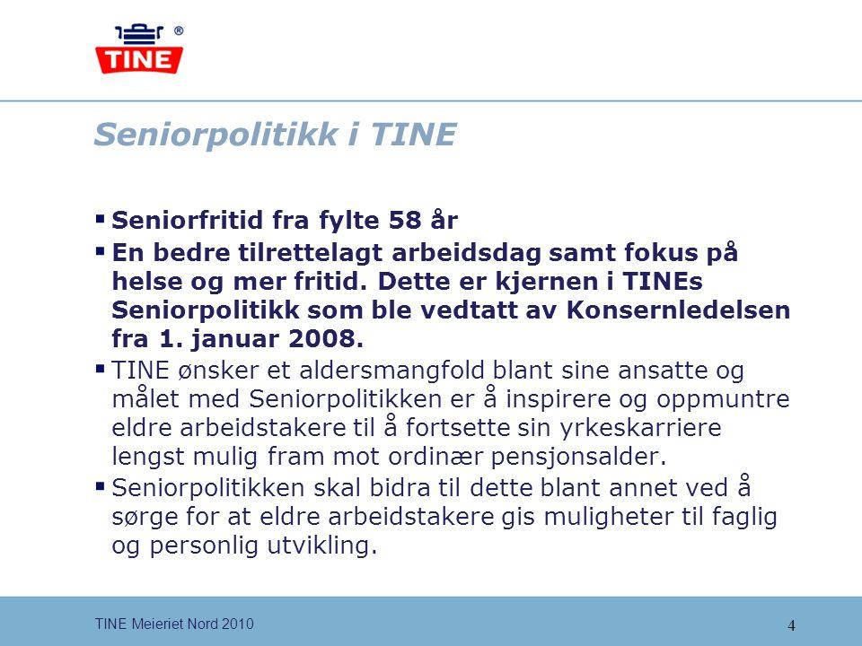 Seniorpolitikk i TINE Seniorfritid fra fylte 58 år