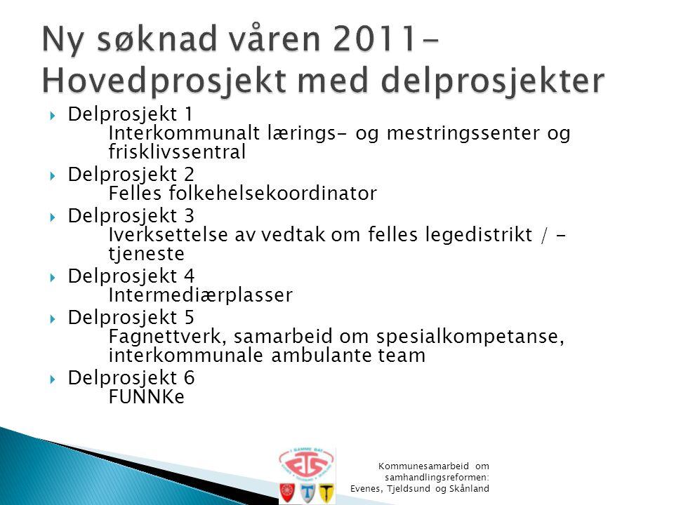 Ny søknad våren 2011- Hovedprosjekt med delprosjekter