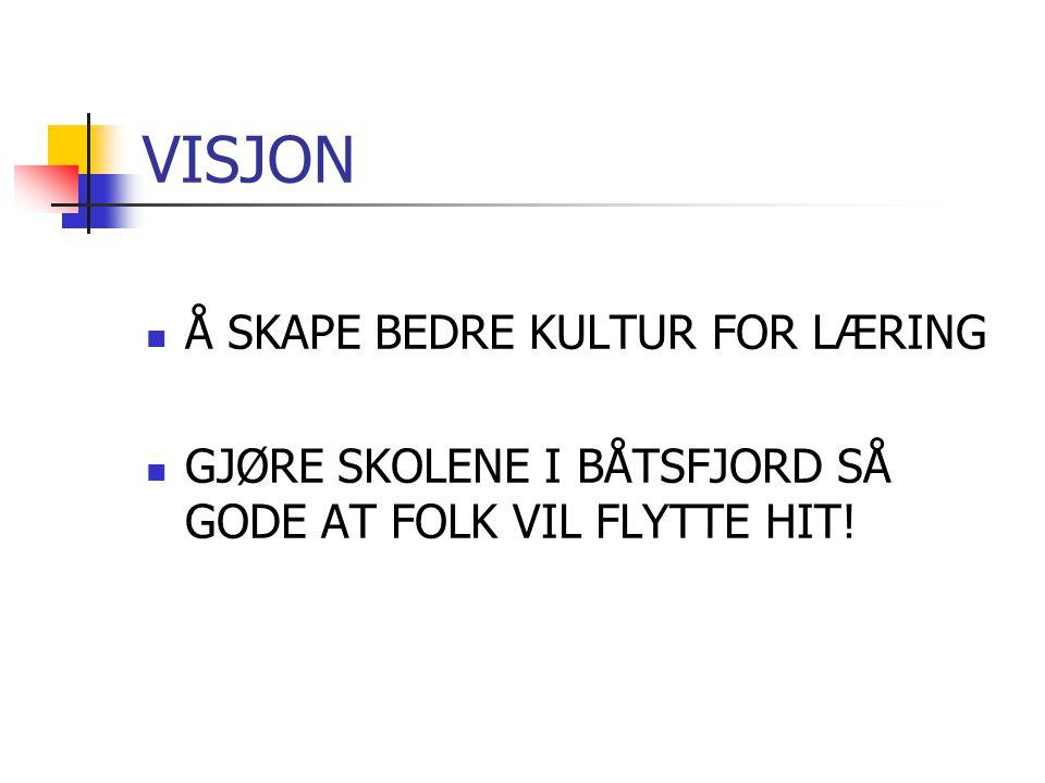 VISJON Å SKAPE BEDRE KULTUR FOR LÆRING