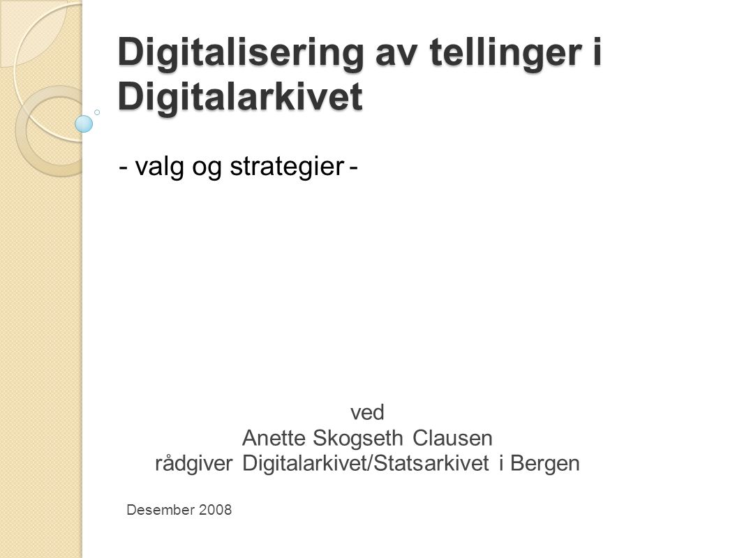 Digitalisering av tellinger i Digitalarkivet