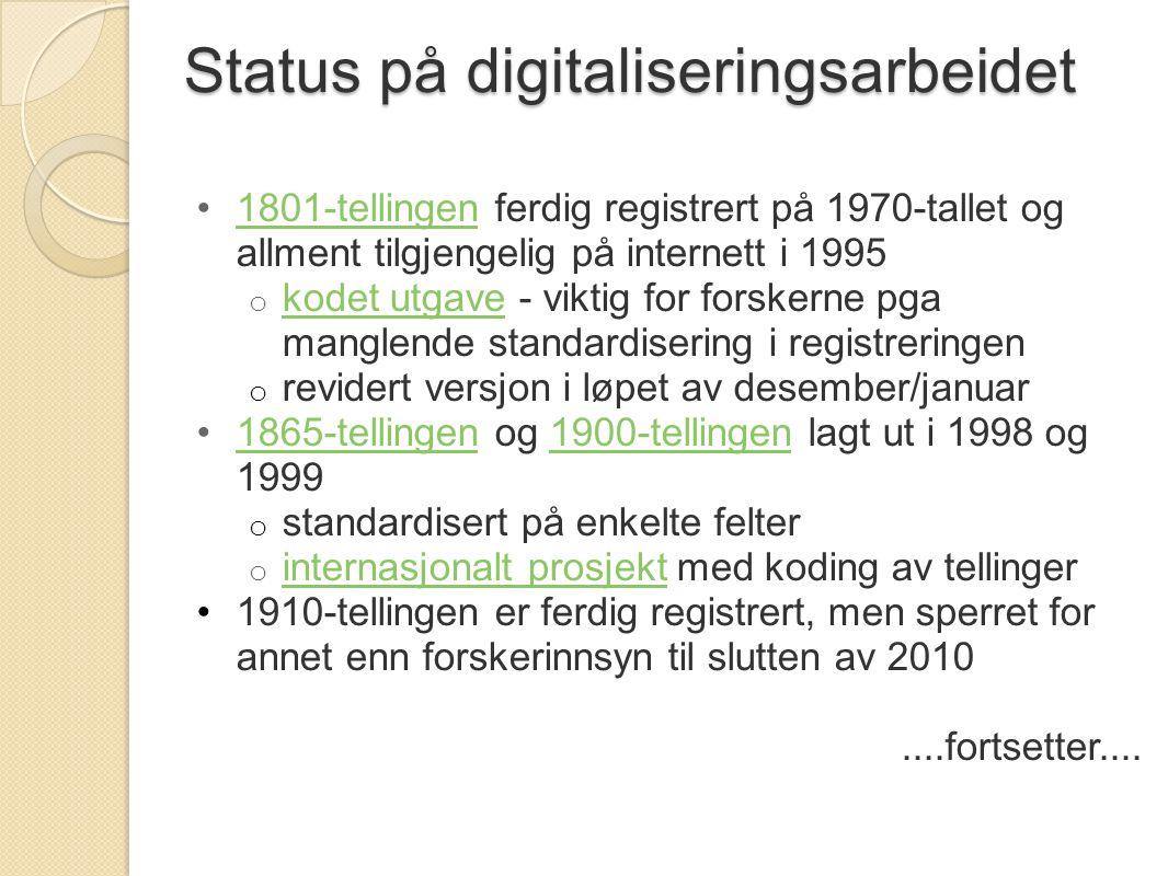 Status på digitaliseringsarbeidet