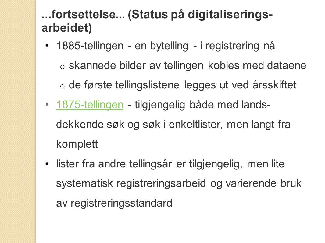 ...fortsettelse... (Status på digitaliserings-arbeidet)