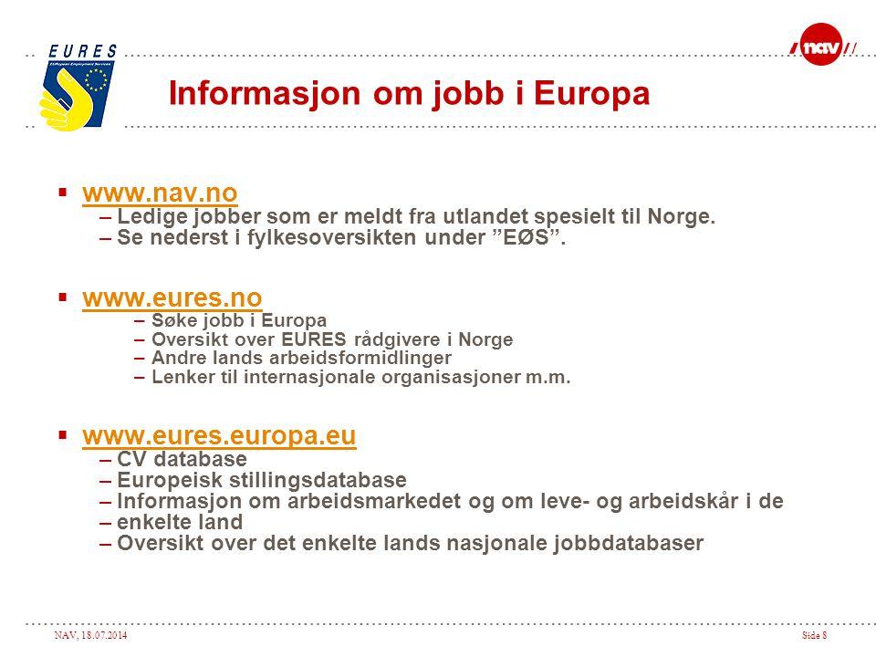Informasjon om jobb i Europa