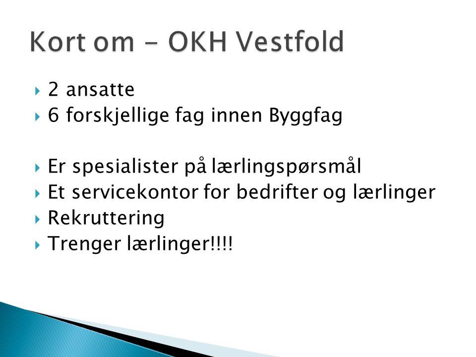Kort om - OKH Vestfold 2 ansatte 6 forskjellige fag innen Byggfag