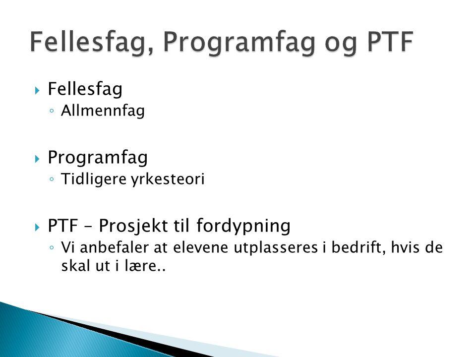 Fellesfag, Programfag og PTF
