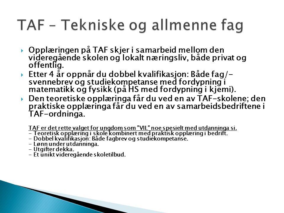 TAF – Tekniske og allmenne fag