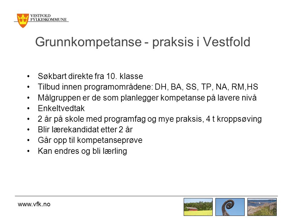 Grunnkompetanse - praksis i Vestfold