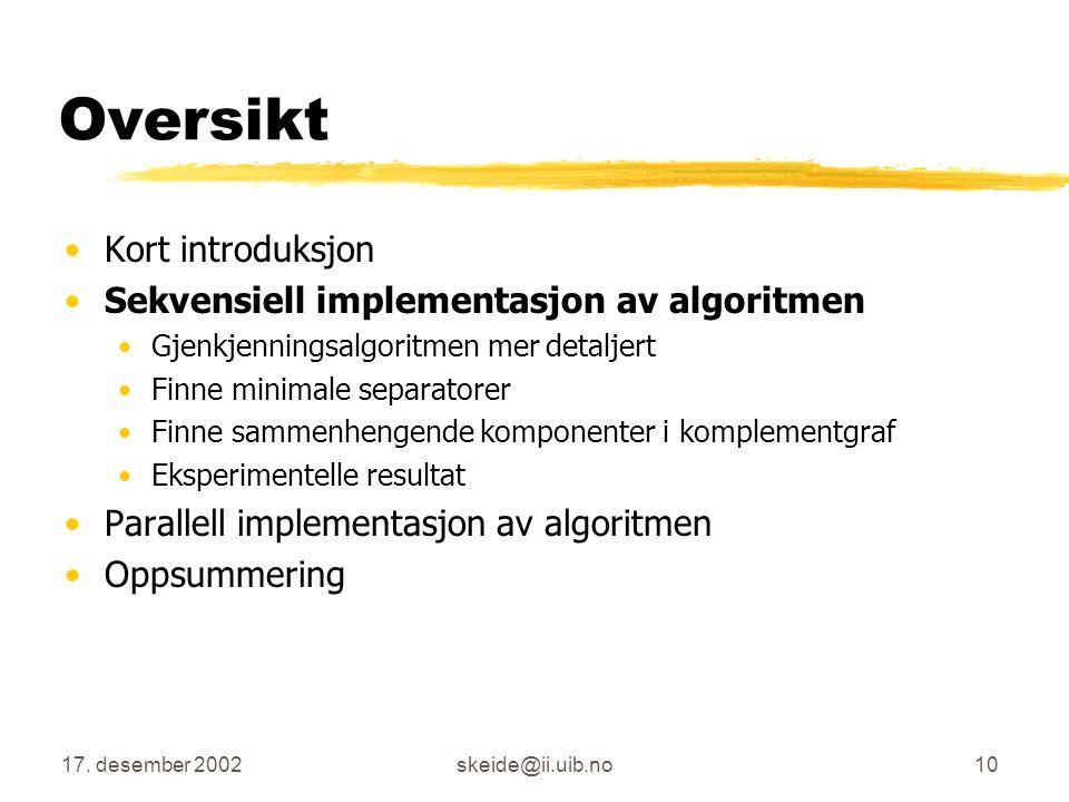 Oversikt Kort introduksjon Sekvensiell implementasjon av algoritmen