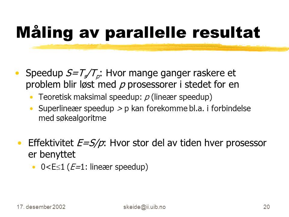 Måling av parallelle resultat