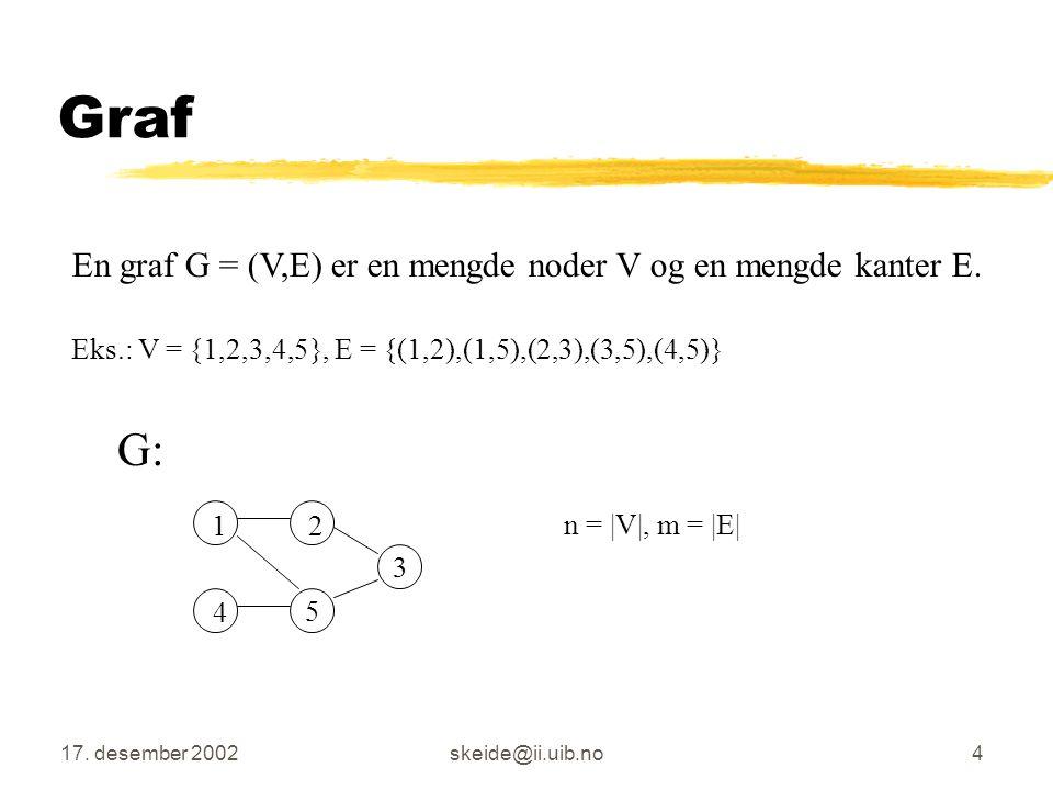 Graf G: En graf G = (V,E) er en mengde noder V og en mengde kanter E.