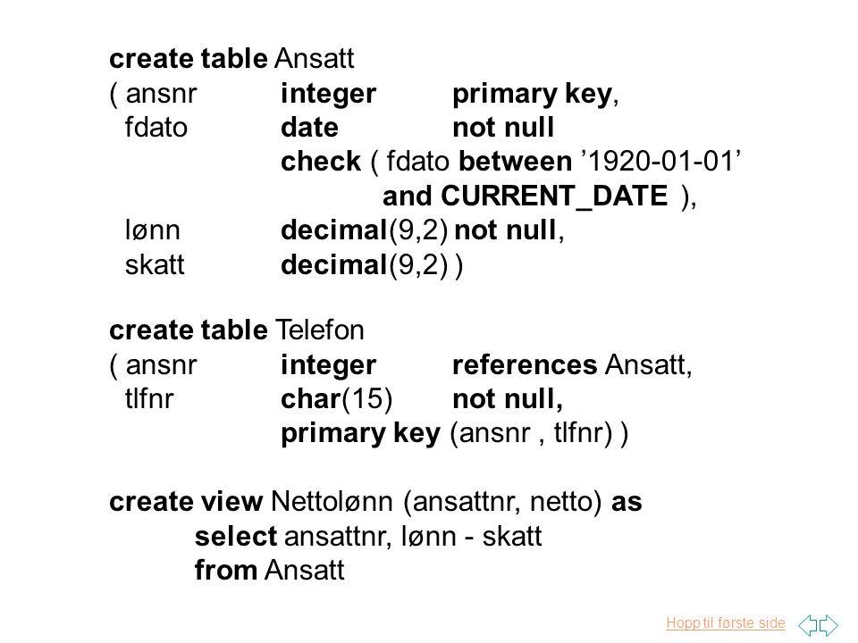 create table Ansatt ( ansnr integer primary key, fdato date not null. check ( fdato between '1920-01-01'