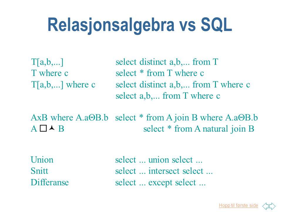 Relasjonsalgebra vs SQL