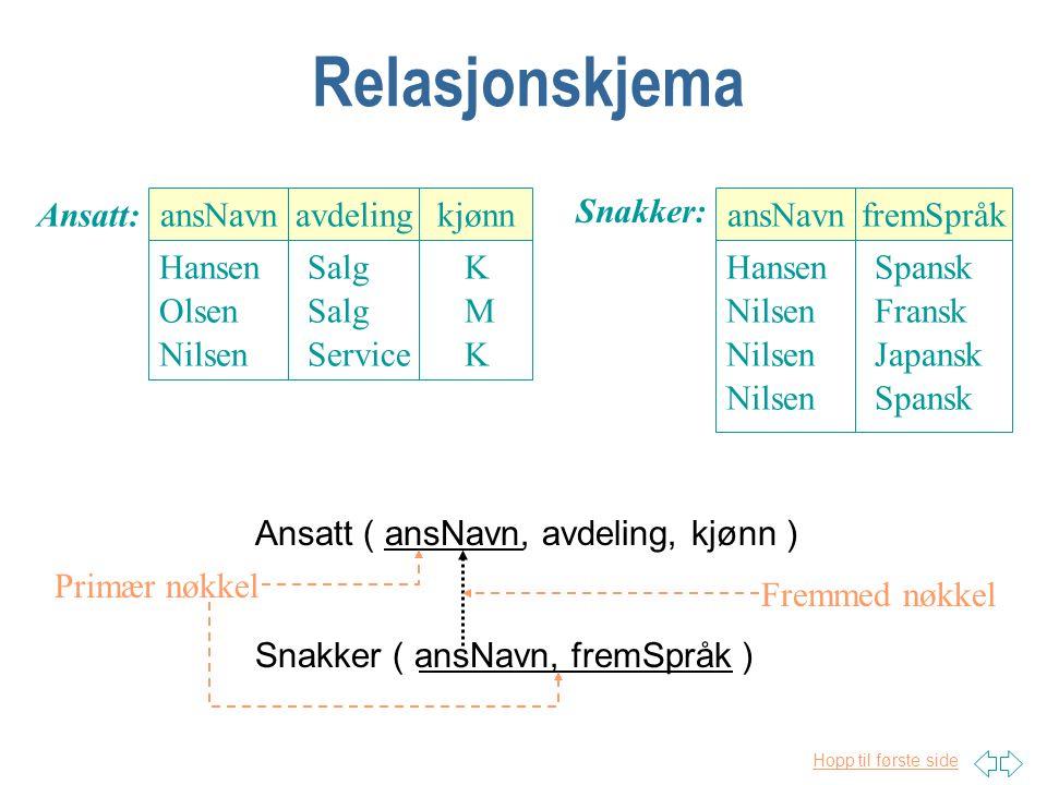 Relasjonskjema Ansatt: ansNavn Hansen Olsen Nilsen avdeling Salg