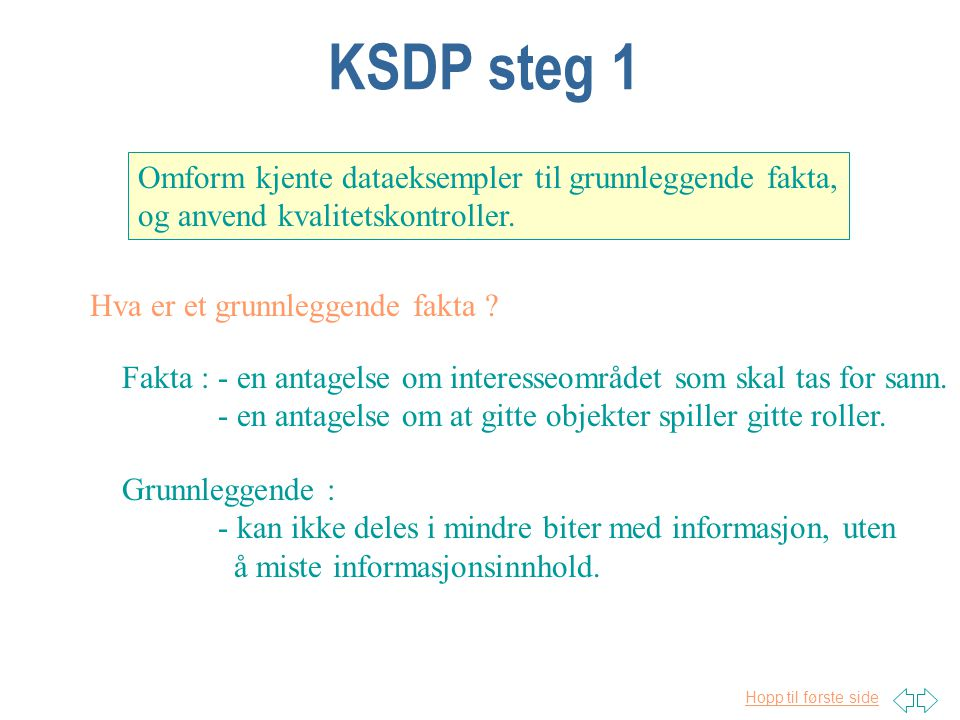 KSDP steg 1 Omform kjente dataeksempler til grunnleggende fakta,