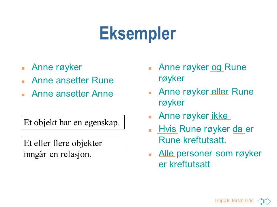Eksempler Anne røyker Anne ansetter Rune Anne ansetter Anne