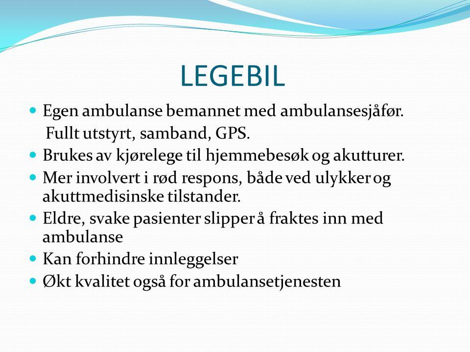 LEGEBIL Egen ambulanse bemannet med ambulansesjåfør.