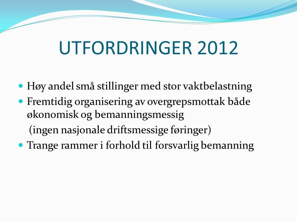 UTFORDRINGER 2012 Høy andel små stillinger med stor vaktbelastning