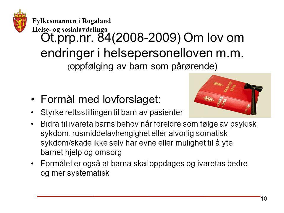 Ot. prp. nr. 84(2008-2009) Om lov om endringer i helsepersonelloven m