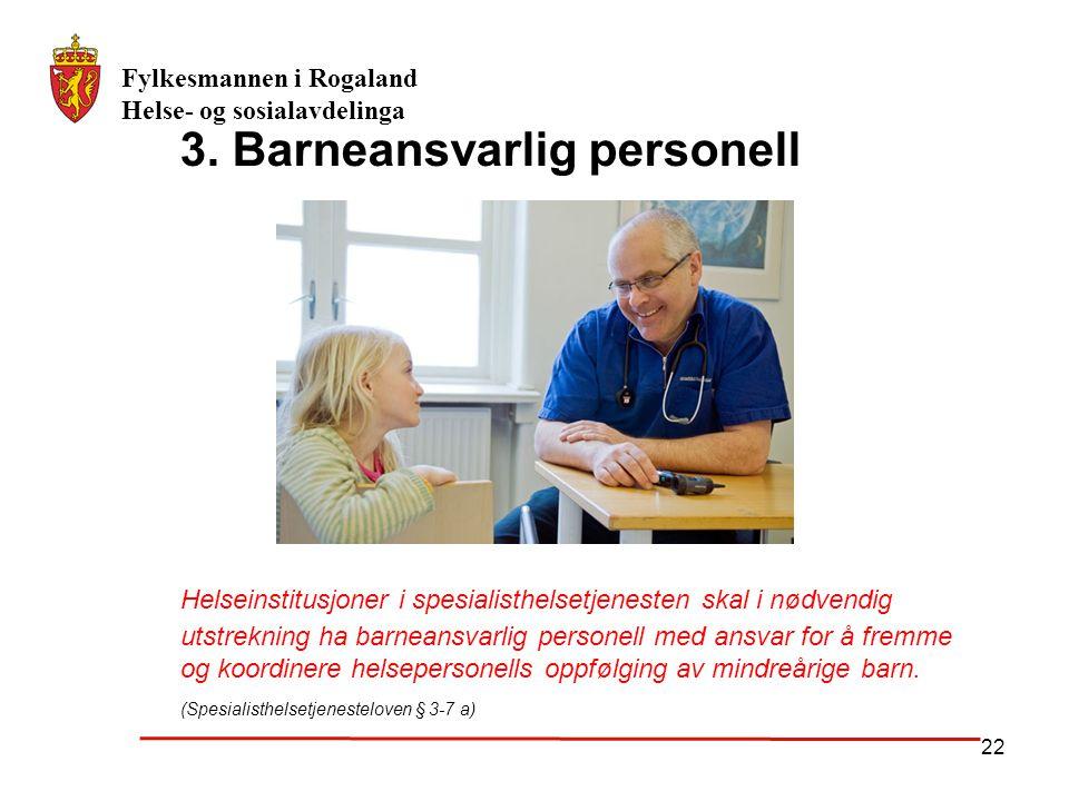 3. Barneansvarlig personell