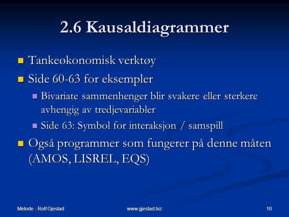 2.6 Kausaldiagrammer Tankeøkonomisk verktøy Side 60-63 for eksempler