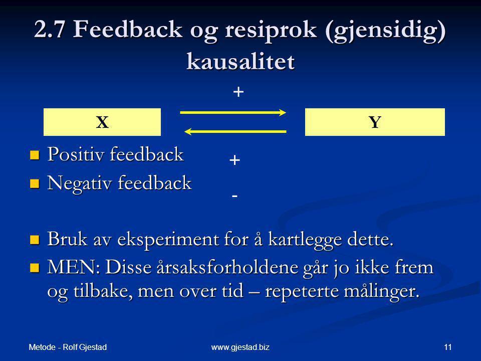 2.7 Feedback og resiprok (gjensidig) kausalitet