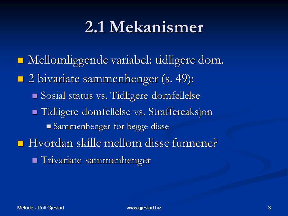 2.1 Mekanismer Mellomliggende variabel: tidligere dom.