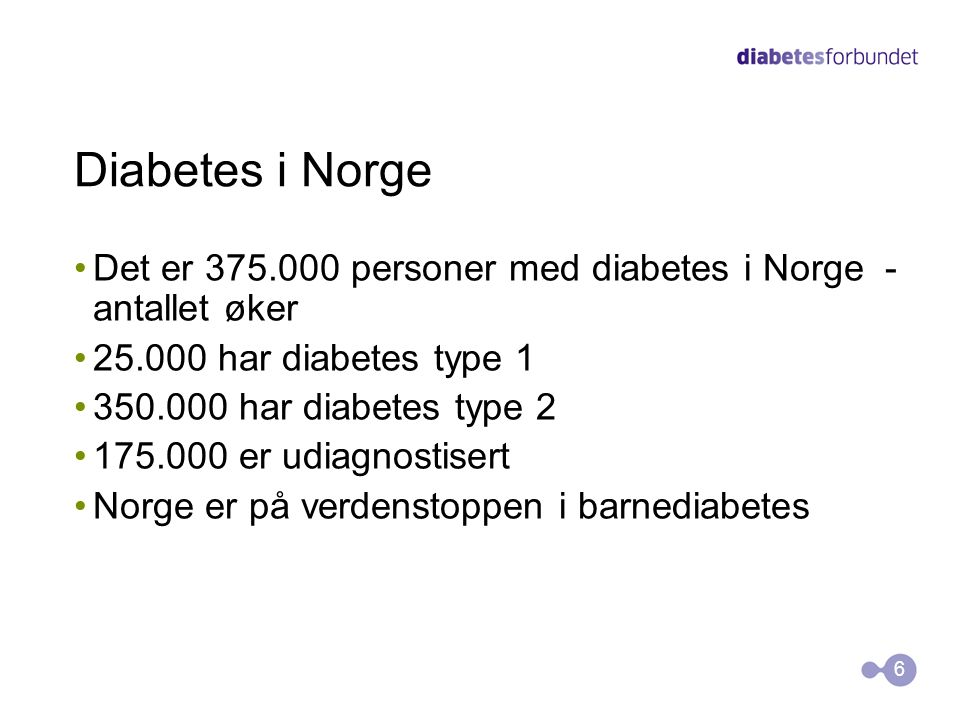 Diabetes i Norge Det er 375.000 personer med diabetes i Norge - antallet øker. 25.000 har diabetes type 1.