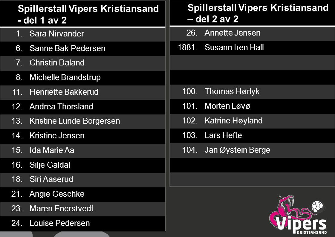 Spillerstall Vipers Kristiansand - del 1 av 2